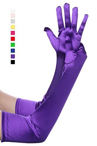 BABEYOND Damen Handschuhe Satin Classic Opera Fest Party Audrey Hepburn Handschuhe 1920er Stil Handschuhe Elastisch Erwachsene Größe Ellenbogen bis Handgelenk Länge 52/55cm (Lang Glatt 52cm / Lila)