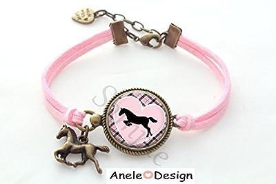 Bracelet Cheval Horse cabochon rose violet noir vichy cœur