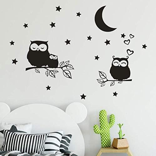 Wandbilder Kinderstar Moon Owl Abnehmbarer Schalter Aufkleber Wohnzimmer Wohnzimmer Wandaufkleber Art Deco Light Wohnzimmer Wandaufkleber 90 * 60Cm