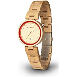 LAiMER Woodwatch NICKY RED | maple wood | 100% natural product from South Tyrol | light as a feather, hypoallergenic and sustainable