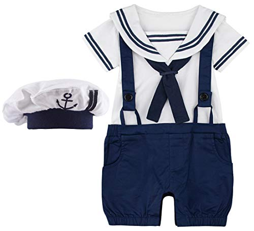 A&J DESIGN Säugling Jungs Kostüm Outfit Set mit Hut (12-18 Monate, Marineblau)