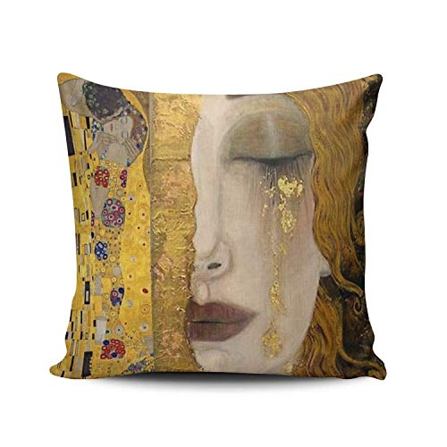 Not afraid Custom Luxury Funny Colorful The Kiss by Gustav Klimt Euro Square Pillowcase Zippered One Side Printed 18x18 Inches Throw Pillow Case Cushion Cover - Navy Computer Stuhl