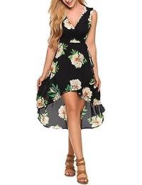 d6b72b7fe Zeagoo Vestido Gasa Mujer Sin Manga Corto Flores Cuello V Fiesta Elegante  Verano
