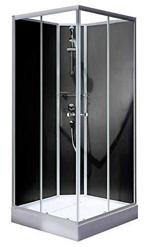Schulte Fertigdusche Komplettdusche Eckeinstieg Glas Rückwände schwarz Rimini, 90 x 90 cm, Alunatur, 1 Stück, 4056397004578, 1 Stück