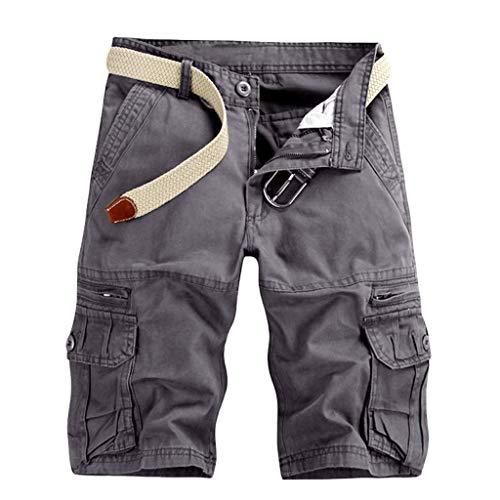 KIMODO Herren einfarbig Freien Tasche Strand Hose Arbeitshose Cargo Shorts Lässig Chino Outdoorhose Freizeit Rangerhose Stoff Jogging Pants -