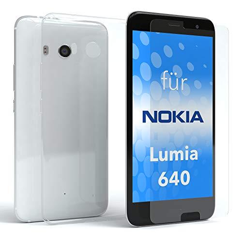 EAZY CASE Silikonhülle & Panzerglas im Set für Nokia Lumia 640 Dual Sim I Displayschutzglas, Panzerglas nur 0,3 mm 9H Härte, Schutzhülle ultra dünn, TPU/Silikon Hülle, Backcover, Transparent / Kristallklar