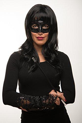 anghaar Perücke schwarz lockig / wellig + Maske + Handschuhe + Zigarettenhalter Fasching Karneval Kostüm - Verkleidung Frauen / Damen (Cleopatra Kostüme Maske)