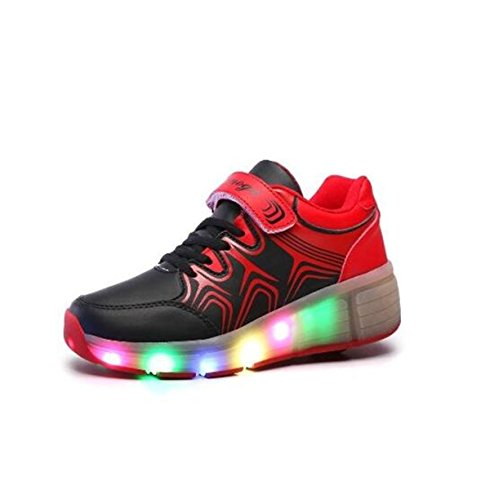 Colore scarpe con rotelle bambini scarpe 7 LED Light Up Leather Shoes Luminous Cuir Sneakers per ragazze per uomo donna, Nero (nero), 34