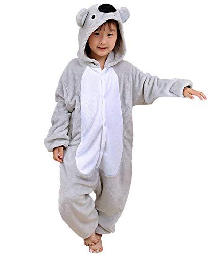 Pyjamas Kigurumi Jumpsuit Onesie Mädchen Junge Kinder Tier Karton Halloween Kostüm Sleepsuit Overall Unisex Schlafanzug Winter, Grau ()