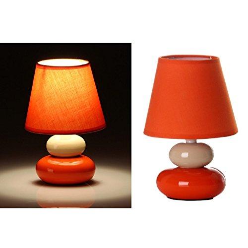 dcasa - Lámpara para mesita de noche pop crema-naranja de cerámica para dormitorio Arco Iris