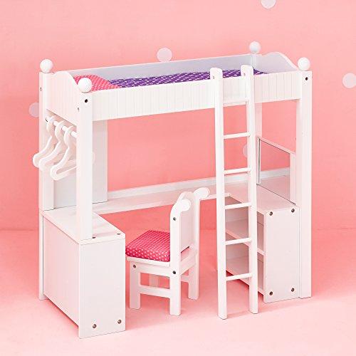 Escritorio y cama de madera para muñeca de 45,7 cm Olivias LittleWorld TD-0204A