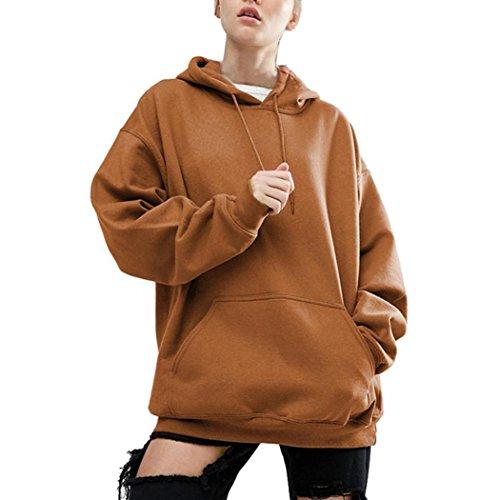 WOCACHI Damen Frühling und Herbst Langarm Blusen Mode Frauen Langarm Plus Größe S-5XL Sweatshirt Casual Oversize Loose Bluse Tops Kapuzenpullover 3XL/46