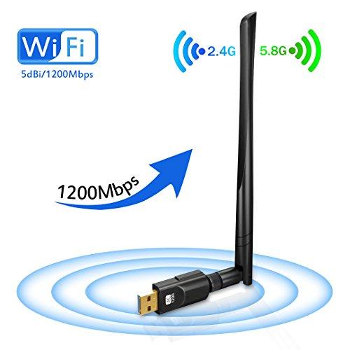 Wlan Stick, USB WiFi Adapter 1200Mbit/s, COLIFE Wifi Dongle mit AC Dualband(5G/867Mbps + 2.4G/300Mbps) und 5dBi Antenna, Mini USB WiFi Stick als Netzwerk Empfänger und Verstärker für Windows/Mac/Linux
