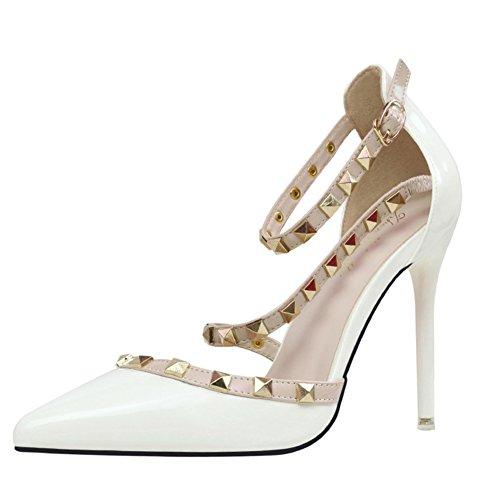 Minetom Scarpe Col Tacco Estate Donna Court Party Shoes Rotazione Rivetti Punta Aguzza Bocca Superficiale Sottile Tacchi Alti Pompa Sandali Tacco Alto Bianco