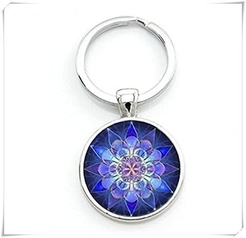 Yoga Mandala Bleu Photo Porte-clés
