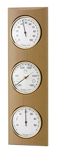 TFA Dostmann Analoge Wetterstation, aus Massivholz, mit Barometer, Thermometer, Hygrometer, zur Raumklimakontrolle