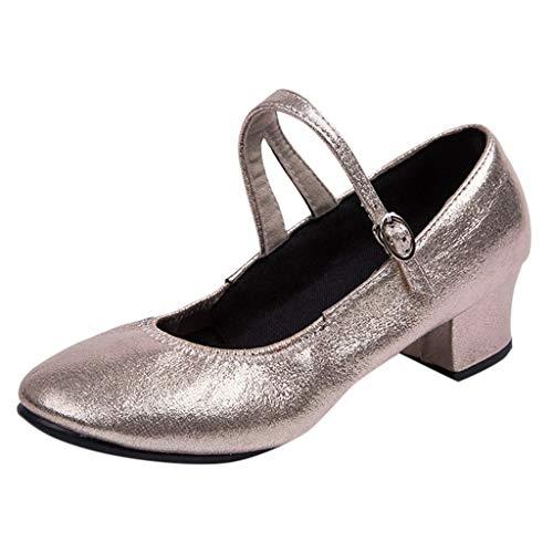 Latinschuhe für Damen/Dorical Frauen Geschlossen Zehen High Heel Tango Ballsaal Latin Schnalle Ankle Tanzschuhe Abendschuhe,Weiche Sohle Ausverkauf(Gold,41 EU)