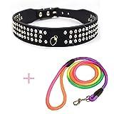 WHFDRHCWXQ Haustierhalsband 1 Stücke Pu Hundehalsband Perros + 1 Stücke Pet Leine Trainingsleinen Seil Leinen Halsbänder Für Kleine Hunde,M