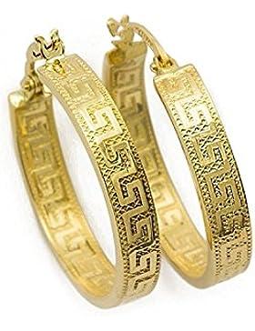 Kleine Griechische Schlüssel Ohrringe Creolen Gelbgold Aus 14 Karat / 585 Gold ( 3 x 14 Ø mm ) - PR141