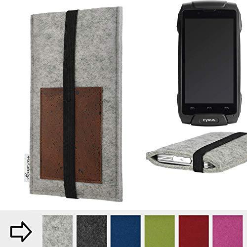 für Cyrus CS 30 Handyhülle Case SINTRA mit Kartenfach (Braun) und Gummiband-Verschluss (schwarz) - maßgefertigte Smartphone Tasche Schutz Hülle aus 100% Wollfilz (hellgrau) für Cyrus CS 30