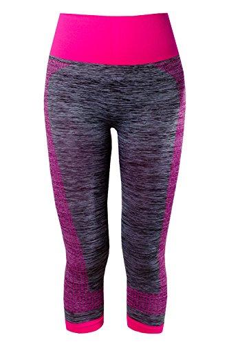 L&K-II Damen Sporthose Luafhose Yoga 3/4 Leggings Strech Fitness Hose 4119 Pink L/XL