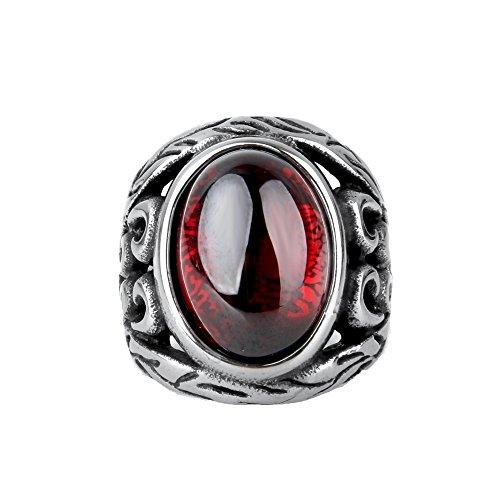CARTER PAUL Herren Edelstahl 17mm Black Diamond Gold Ring High School Größe 65 (20.7) (Gold Rot Diamond Black Ring)