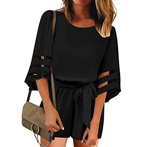 ❤HappyQn❤ Damen Jumpsuit Elegant Sommer Kurzarm Overall Kurz Playsuit Romper Strand Suit