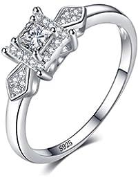 JewelryPalace Anillo de boda Exquisito 0.4ct Corte de Princesa Circonita en palta de ley 925
