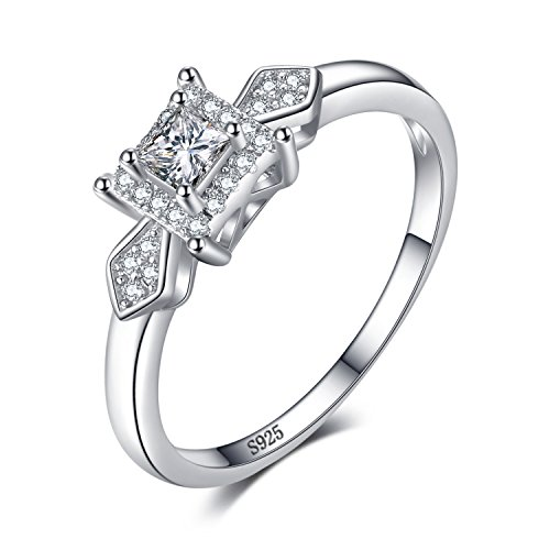 JewelryPalace Exquisite 0.4ct Prinzessin-Cut Zirkonia Hochzeitstag Jahrestag Engagement Versprechen Ring 925 Sterling Silber (Ringe 925 Versprechen Sterling Silber)