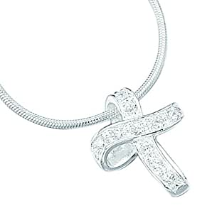 Elements Sterling Silver Ladies P535C CZ Cross Pendant. 46cm Snake Chain