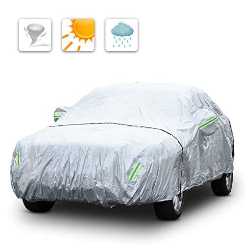 Pujuas telo copriauto, copertura auto protettiva, copertura auto impermeabile per suv, adatto alla pioggia, neve, brina, polvere, raggi solari (530 * 200 * 150 cm) (530 x 200 x 150cm(argento))