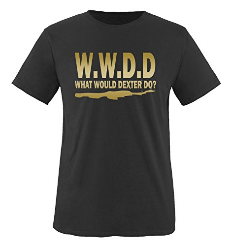 WHAT WOULD DEXTER DO - Herren Unisex T-Shirt Schwarz / Gold
