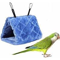 LA VIE Nido de Invierno para Pájaros Ratones Cueva Hamaca Cálido para Loro Hámster Refugio para Aves Tienda de Campaña Casa Cama de Peluche para Animales Pequeños Bird Parrot Nest Accesorios de Jaula para Pájaros Ratones M Azul