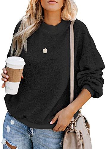 ABirdon Damen Pullover Sweatshirt Langarm Crewneck Jumper Oberteil Casual Fleece Winter Sweater Top