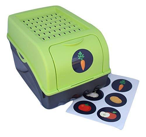 Vorratsdose für Kartoffeln, Gemüse, Obst, Zwiebeln, Aufbewahrungsbox, Kunststoff, Volumen von 7,7 Liter + 6 Aufkleber mit Gemüsesorten (Grün)
