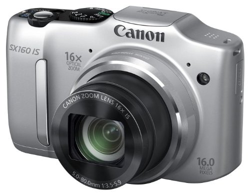 Canon PowerShot SX160 IS Digitaltkamera (16 Megapixel, 16-fach opt. Zoom, 7,5 cm (3,0 Zoll) LCD) silber