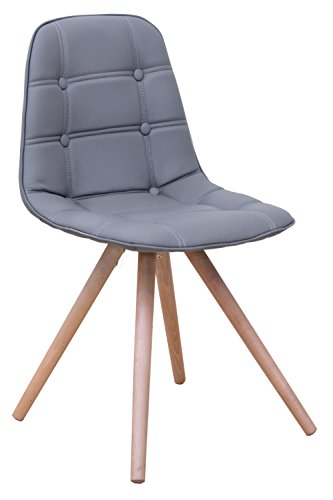 Chaise longue revêtu PU avec solides pieds en bois, coloris gris, 400 x 420 x 850 mm -PEGANE-