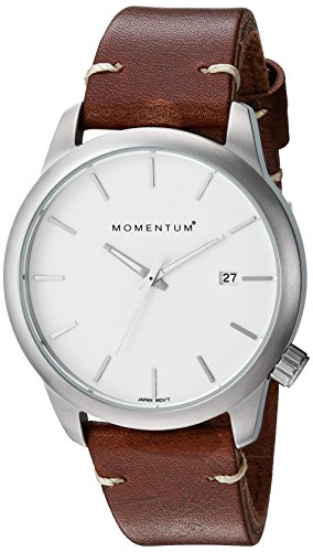 Momentum Women's Quartz Stainless Steel and Leather Dress Watch, Color:Brown (Model: 1M-SP11W3C)