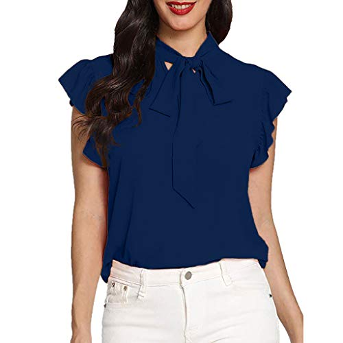 Damen T Shirt, CixNy Lässige Mütze Krawatte Bluse Damen Einfarbig Chiffon Kurzarm...