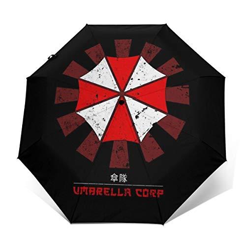 Umbrella Corp - Paraguas Plegable de Apertura y Cierre automático, Resistente al Viento, diseño Retro japonés