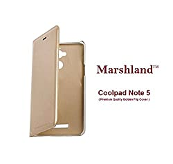 Coolpad Note 5 (Gold) Flip Cover Ultra Smooth Water Proof, Perfect Fit Hard & Shiny Flip Case cover Synthetic PU leather By Marshland
