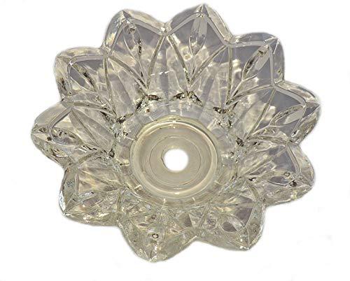 11 mm Mittelloch Kronleuchter Bobeche Tiefe Schale Tropfschale aus dickgeschnittenem Glas mit Muschelkante 132 mm Antik Stil mit 5 Kreolen zum Aufhängen von Glaskristallen Tropfen Perlen Prismen -