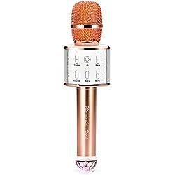 Microphone bluetooth sans fil,Multi-fonction micro karaoke avec des lumières clignotantes(Champagne Gold)