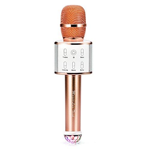 Magiclux Tech Tragbar Mikrofon Drahtlos Bluetooth Karaoke Mikrofon mit Doppelt Lautsprecher HiFi Stereo und Farbig DiscoLicht für Heim Party KTV/ PC /iPhone/ iPad/ Samgsung /Android Smartphone Musik Apps (Champagner Gold)