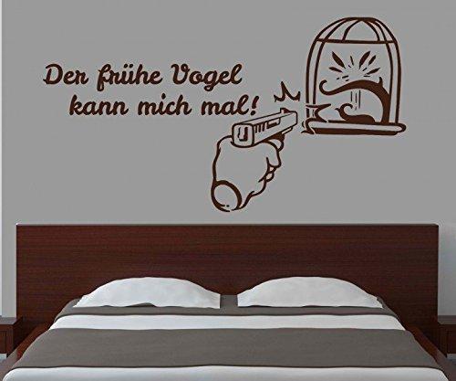 Wandtattoo Der frühe Vogel kann mich mal ! Sprüche lustige DUB JDM Spruch Aufkleber Tür Wand Schlafzimmer 1D188