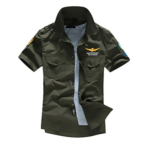 Camicia uomo manica corta bavero pattern ricamo single breasted shirt estate hipster unico casuale slim fit camicie top marina militare aeronautica