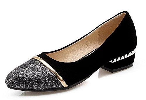 VogueZone009 Damen Pu Leder Niedriger Absatz Gemischte Farbe Ziehen Auf Pumps Schuhe Schwarz