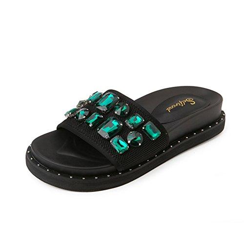 Sommer-mode-sandalen/Rhinestone außerhalb der dicken unterseite des wortes ziehen A