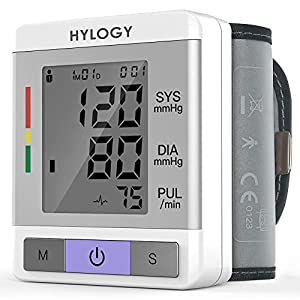Blutdruckmessgerät, HYLOGY Handgelenk-Blutdruckmessgerät, Vollautomatische Blutdruck und Pulsmessung mit 2 * 90 Speicher, Hohe Genauigkeit, LCD-Display, Tragbar für Den Heimgebrauch