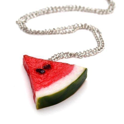 Wassermelonen Stück Halskette - ca. 70cm lange Kette - Obst Anhänger Wassermelone Melone Party